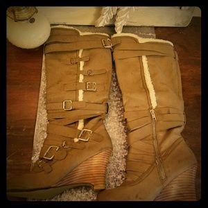 Newport News buckle wedge boot!